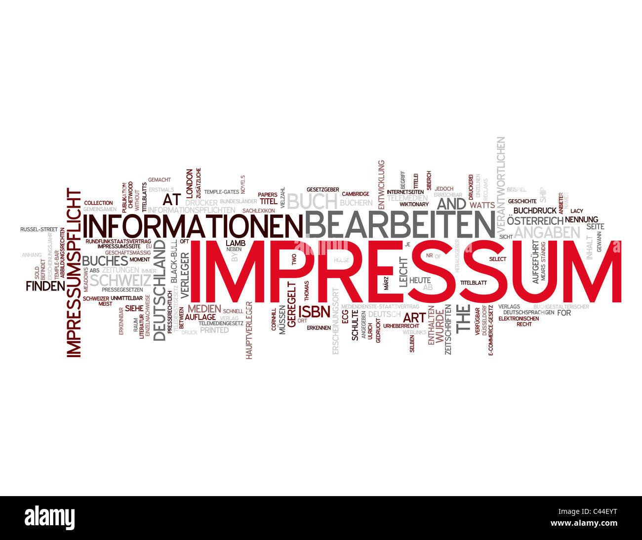Impressum word collage - Stock Image