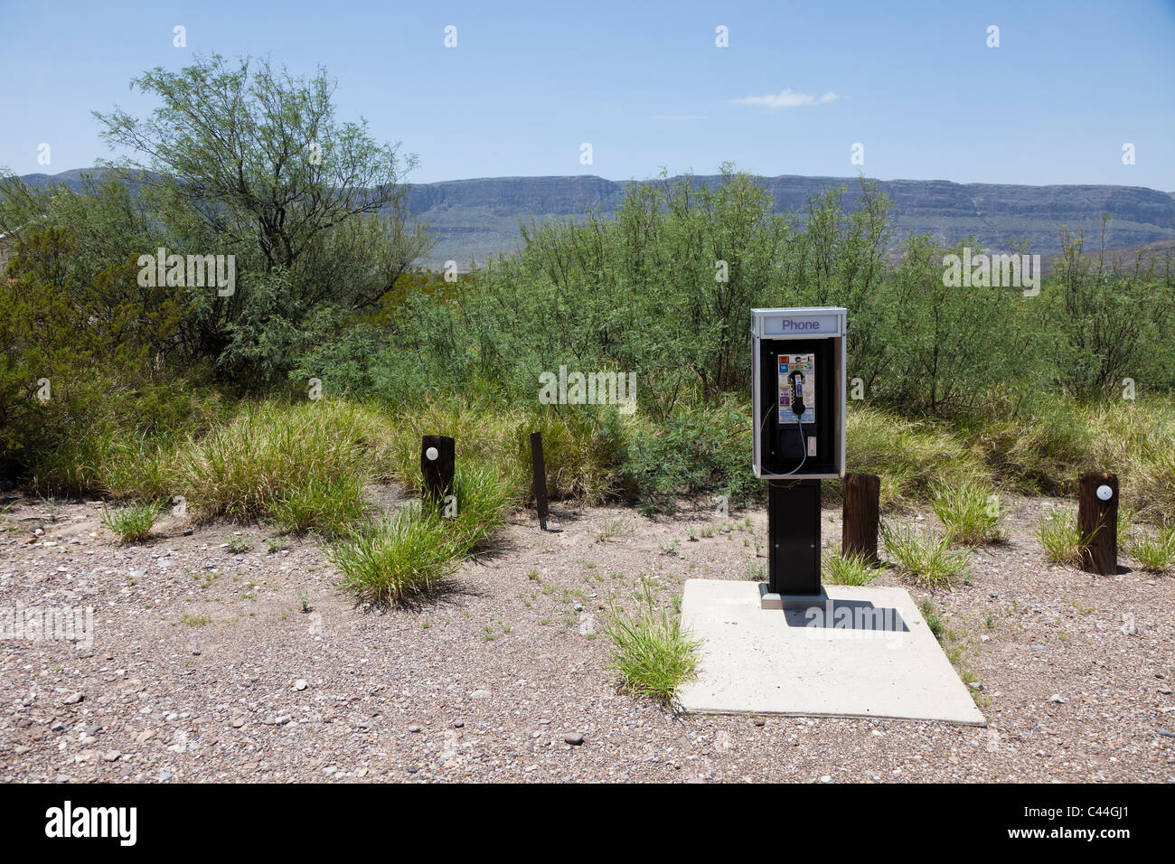 Payphone in desert at Castolon Big Bend National Park Texas USA - Stock Image
