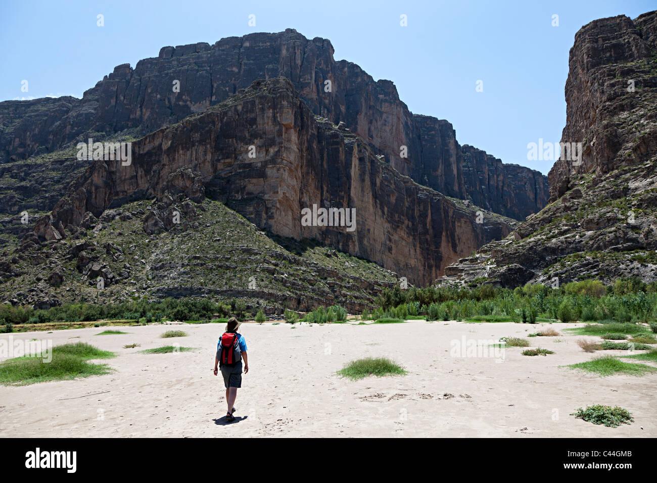 Hiking towards Santa Elena Canyon Rio Grande River Big Bend National Park Texas USA - Stock Image