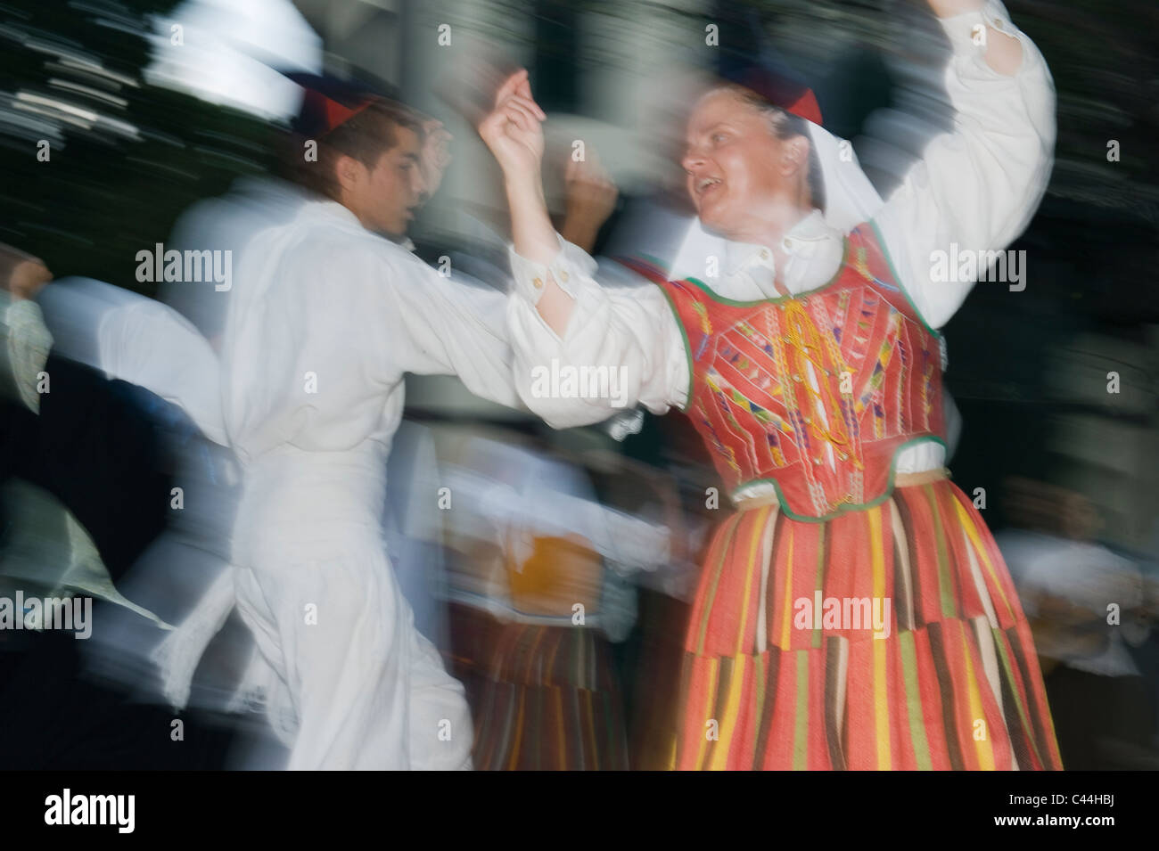 Traditional Madeiran Dancers, Flower Festival, Funchal, Madeira - Stock Image