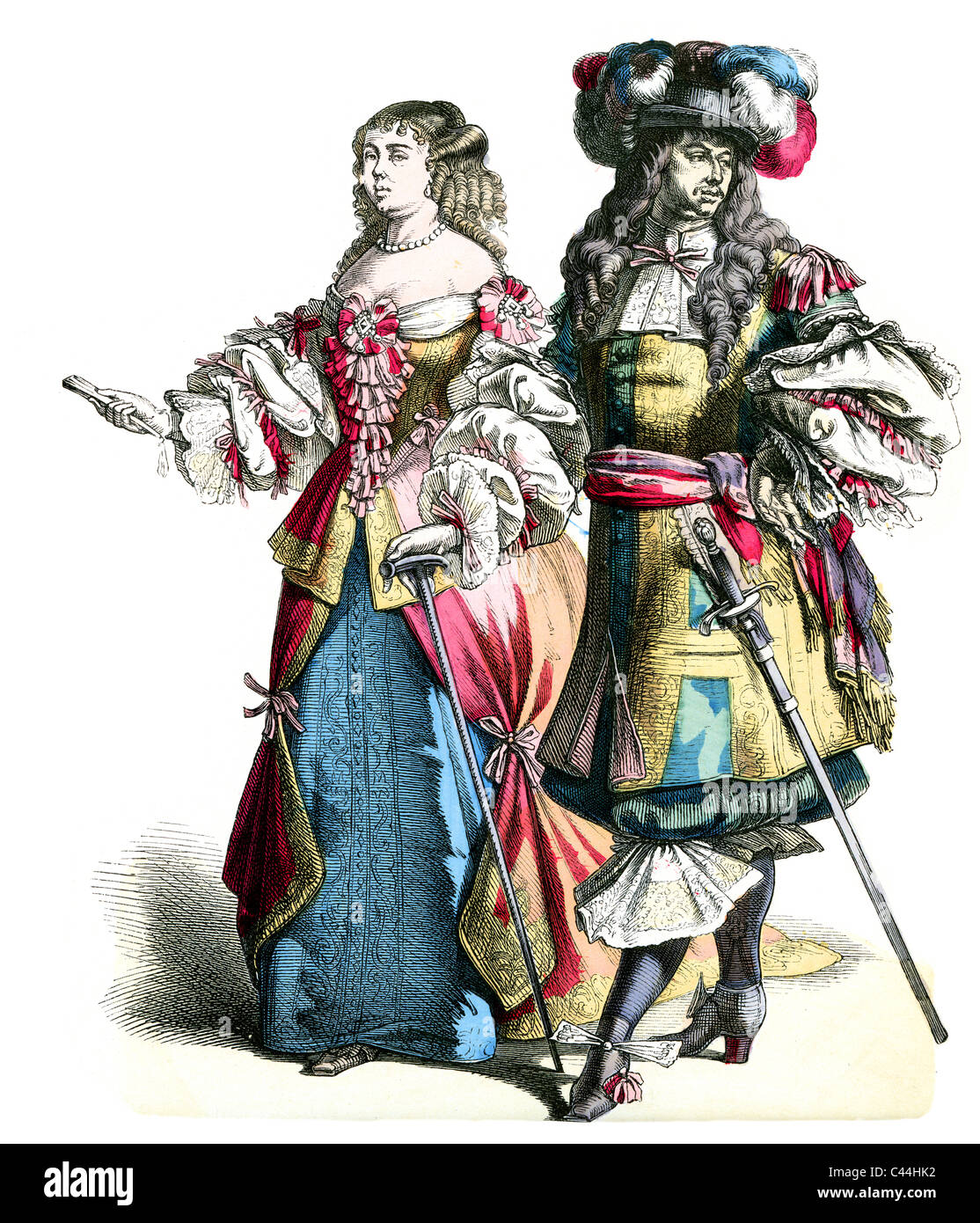 A man and a woman wearing dutch period costumes of the 17th Century - Stock Image