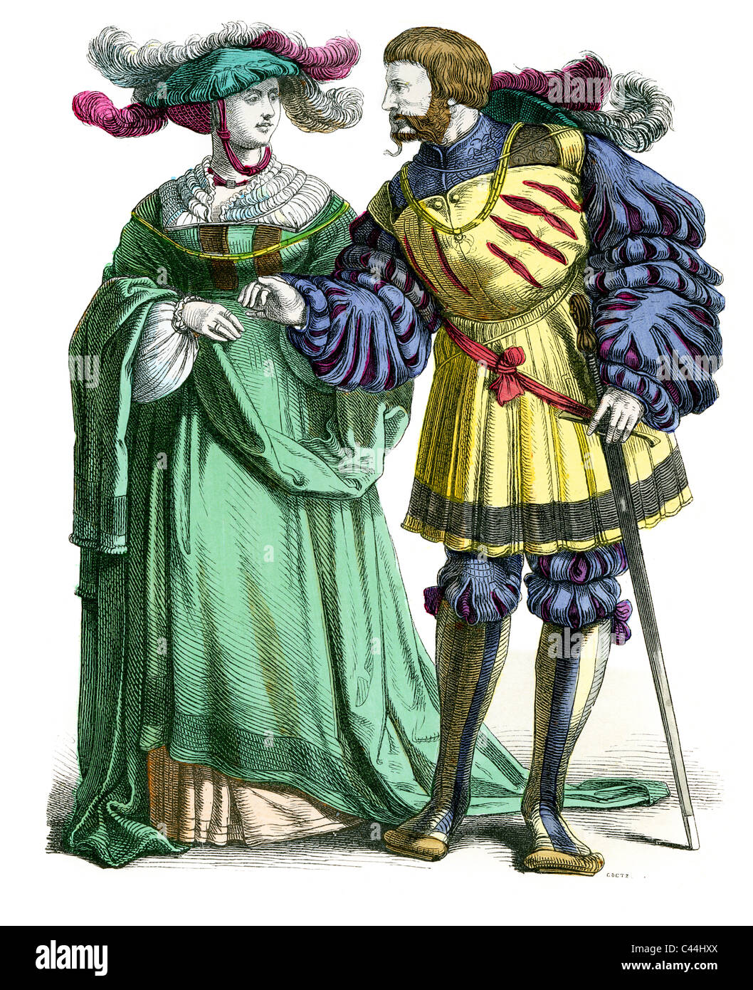 16th Century German Nobleman and Lady in fashionable dress - Stock Image