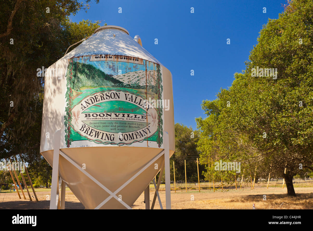 BOONVILLE, CALIFORNIA, USA - Anderson Valley Brewing Company, sign on old fermentation tank, in Mendocino County. - Stock Image