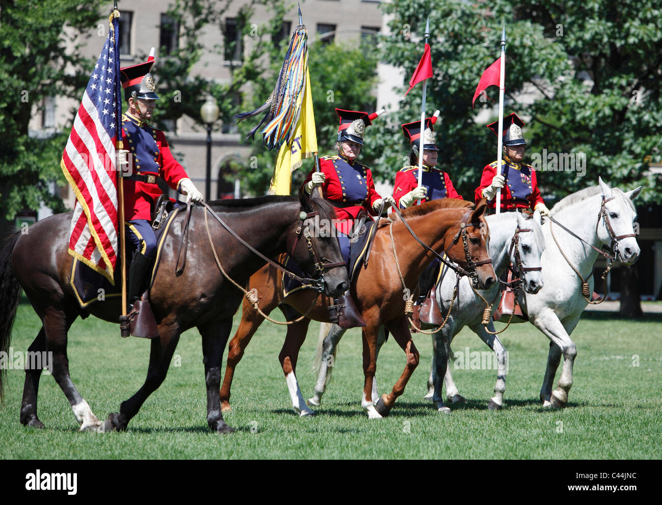 Massachusetts National Lancers in formation on Boston Common - Stock Image