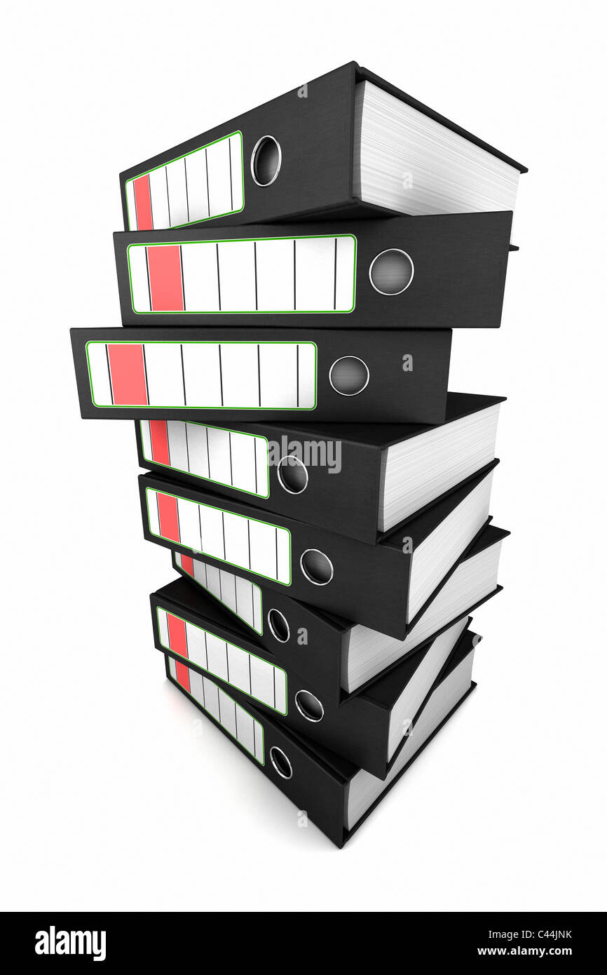 Stacked ring binders - Stock Image