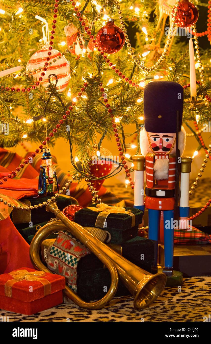 Nutcracker, Bugle and Gifts under Victorian Christmas Tree in New Albany, Indiana - Stock Image