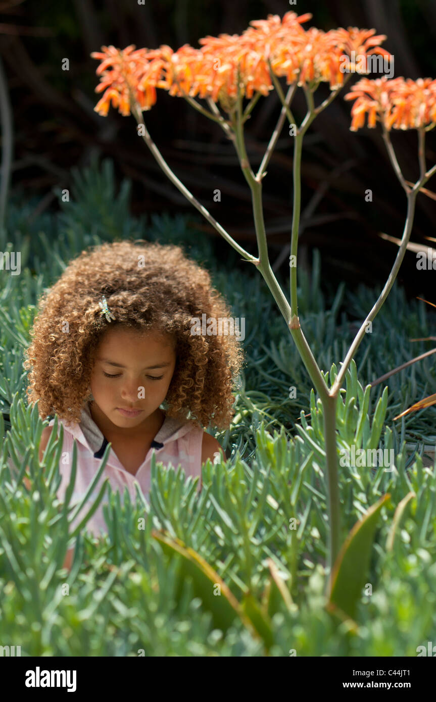 young girl outside looking in a plant - Stock Image