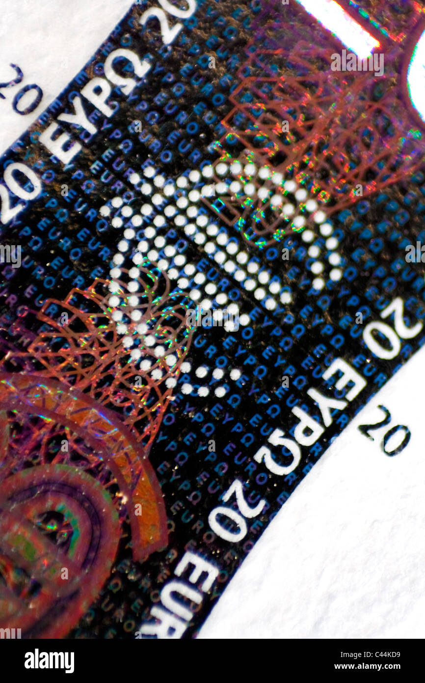 20 euro banknote macro - hologram - Stock Image