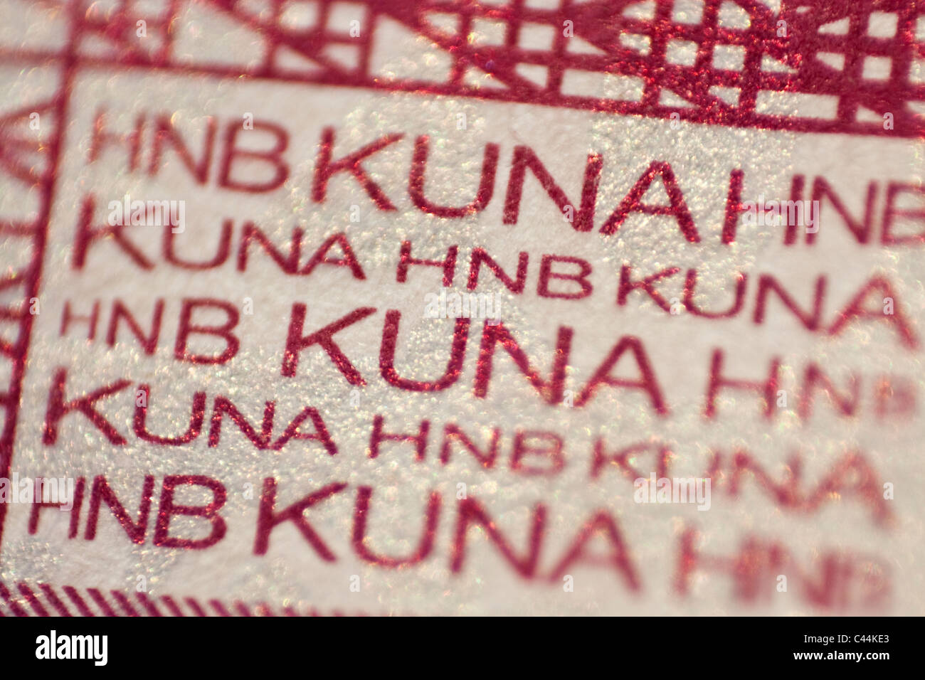 Croatian money  ' Kuna ' detail - security measures against forgery - Stock Image