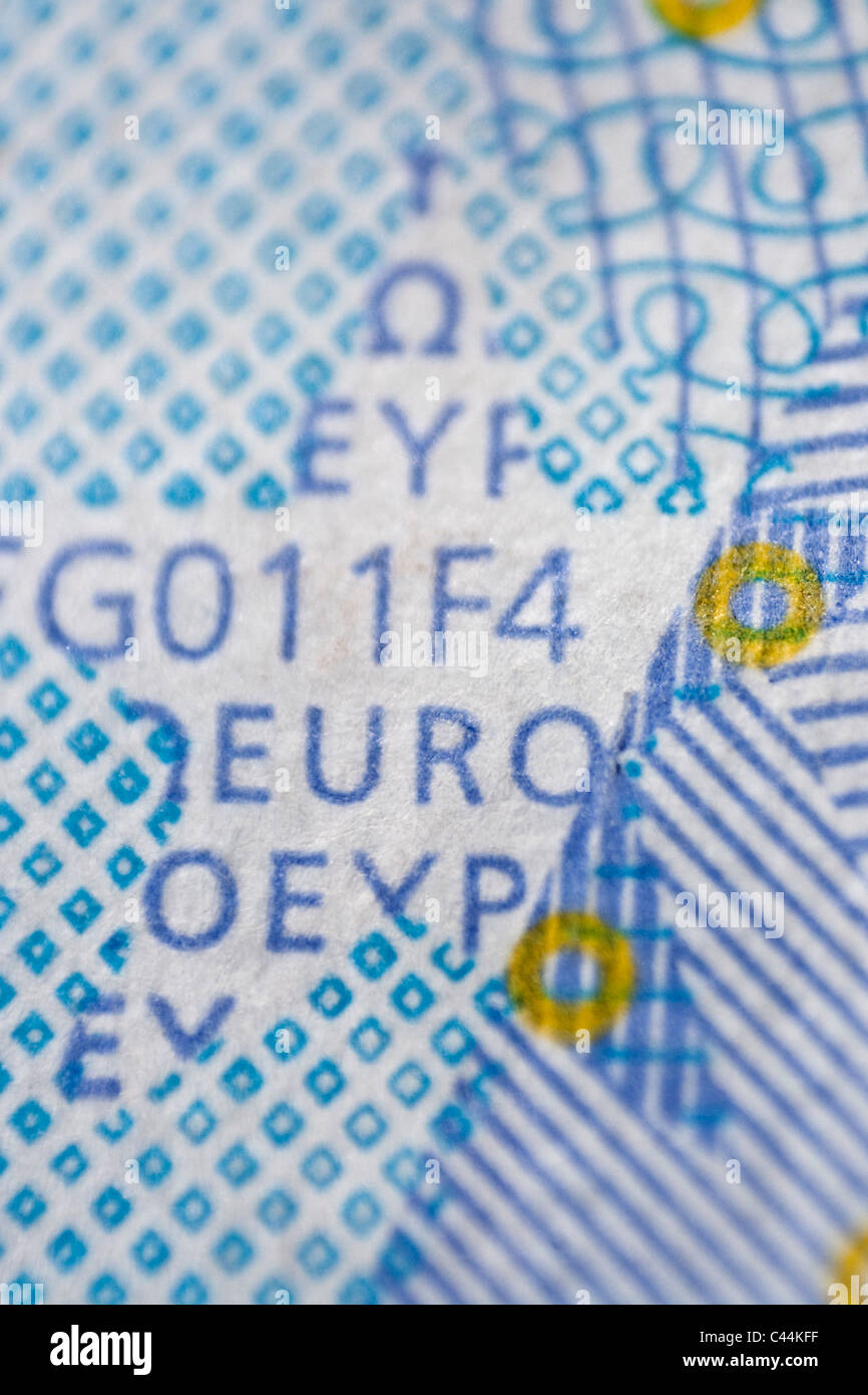 20 euro banknote macro - security measures against forgery - Stock Image