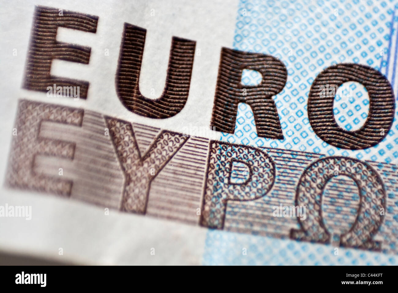 Lettering 'euro', macro detail of 20 euro banknote - Stock Image