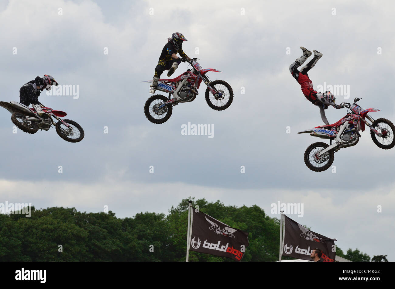 Bolddog freestyle motocross team performing at the Devon County Show, May 2011 - Stock Image
