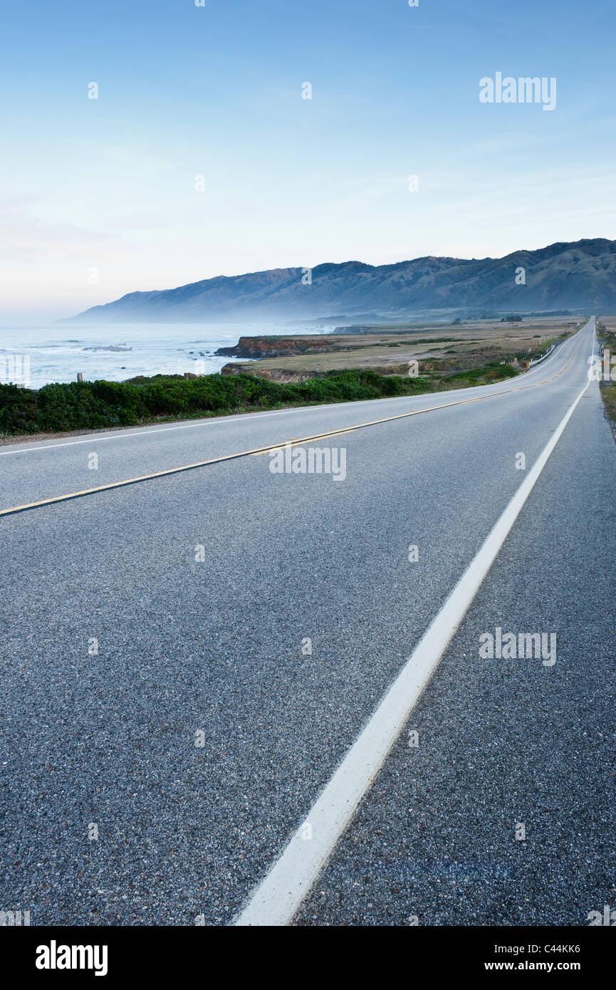 Cabrillo highway - Hwy 1 north of San Simeon, California - Stock Image