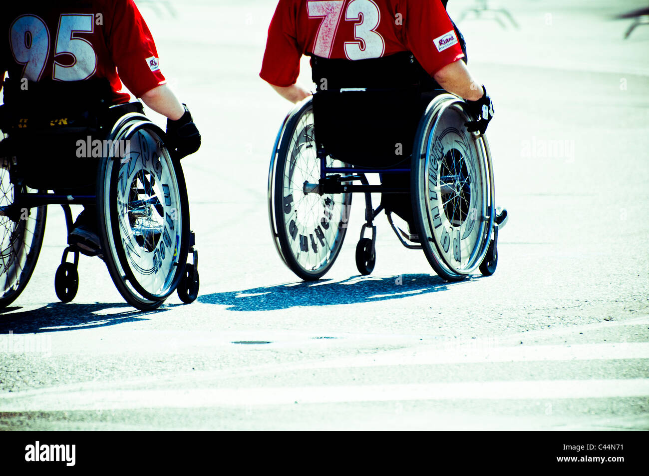race of disabled people on wheelchair - Stock Image