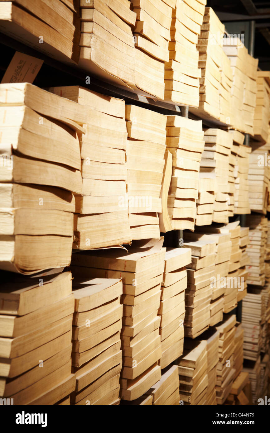 Photo of bookshelves in library of educational institution - Stock Image