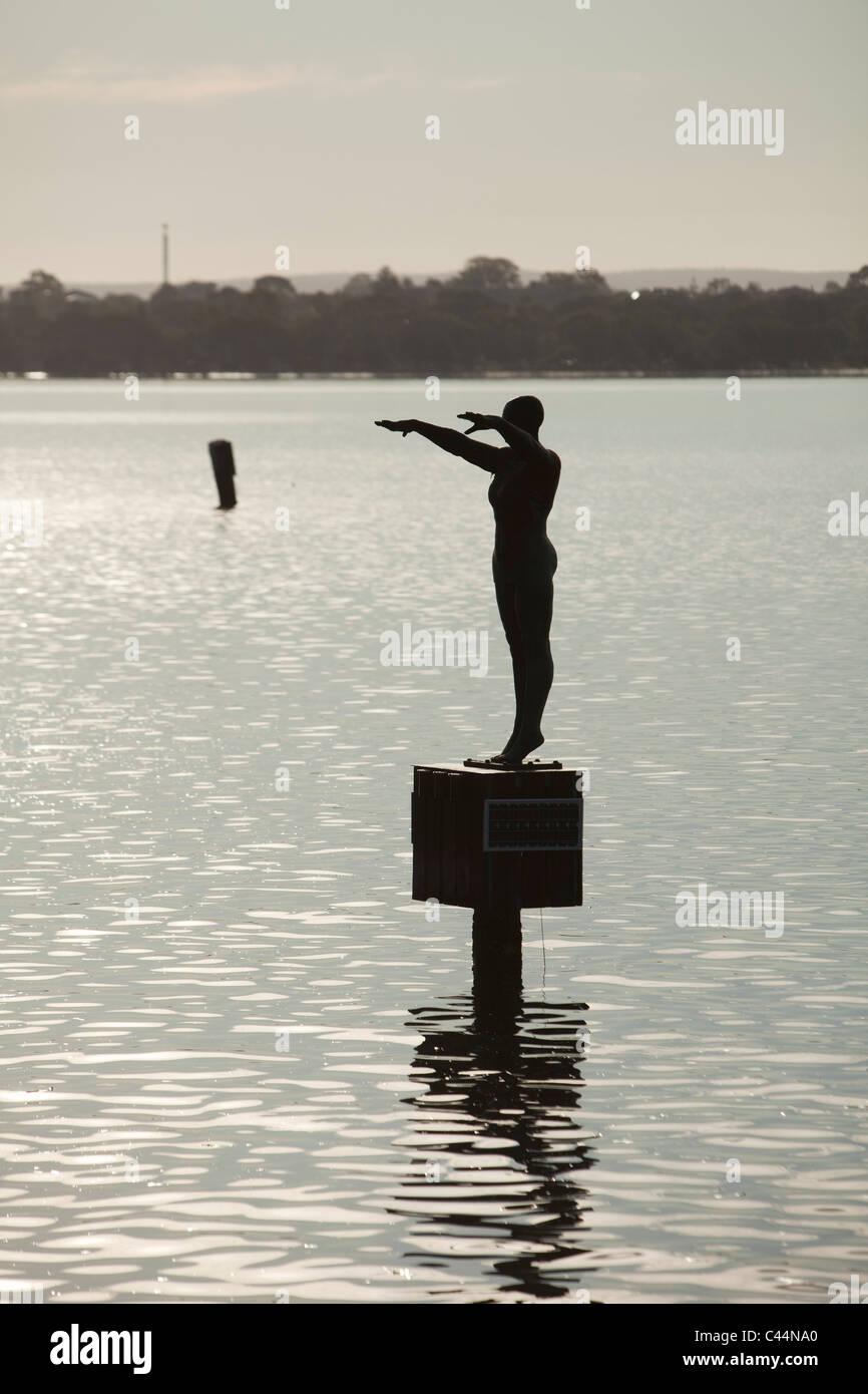 Eliza sculpture commemorating the Crawley Bath.  Perth, Western Australia, Australia - Stock Image