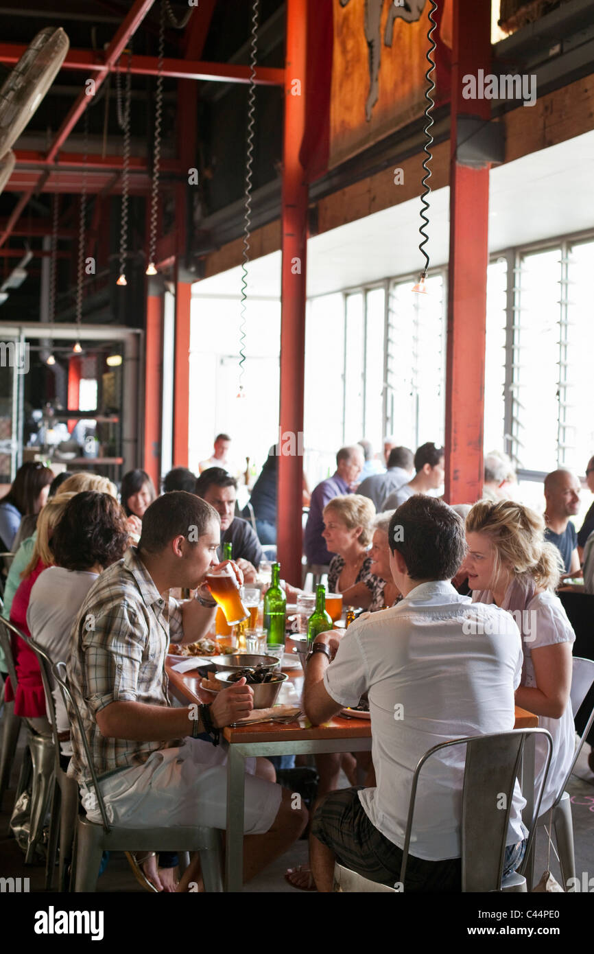 Diners at Little Creatures brewery at Fishing Boat Harbour. Fremantle, Western Australia, Australia - Stock Image