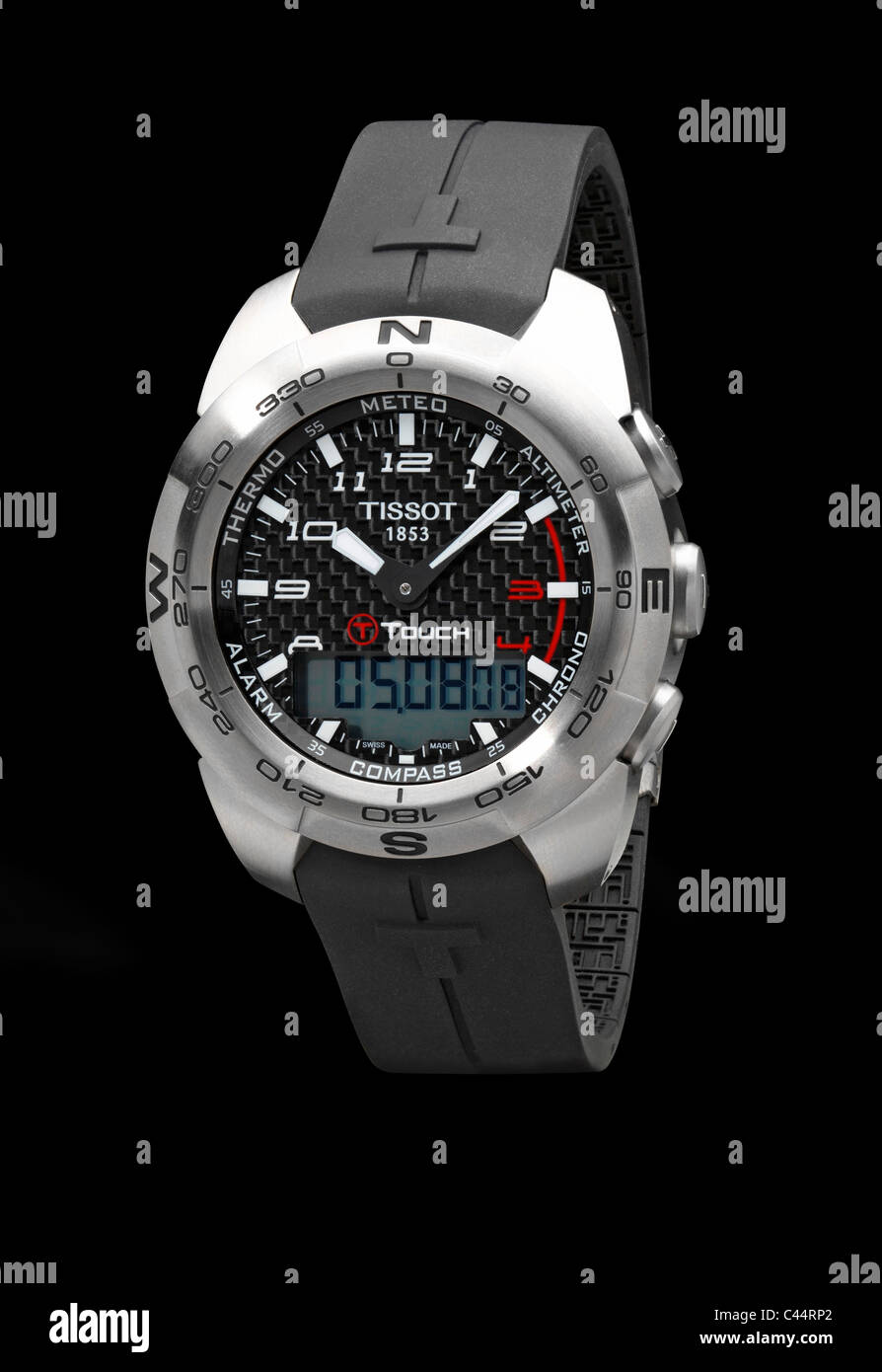 Tissot touch mens digital and analogue watch on black background Stock Photo