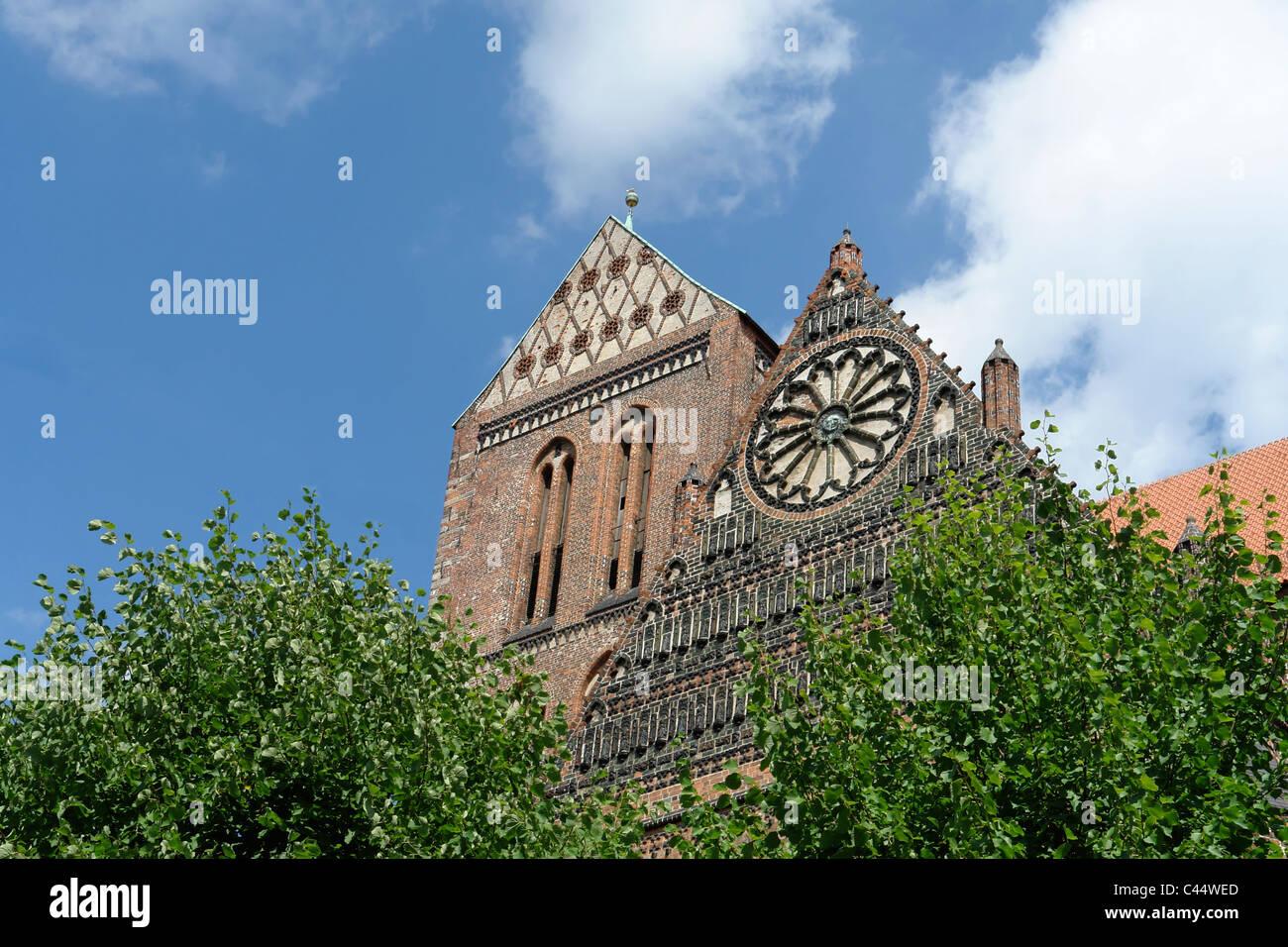 Germany, Mecklenburg-West Pomerania, Wismar, church, Saint Santa Clauses, trees, architecture, building, construction, - Stock Image