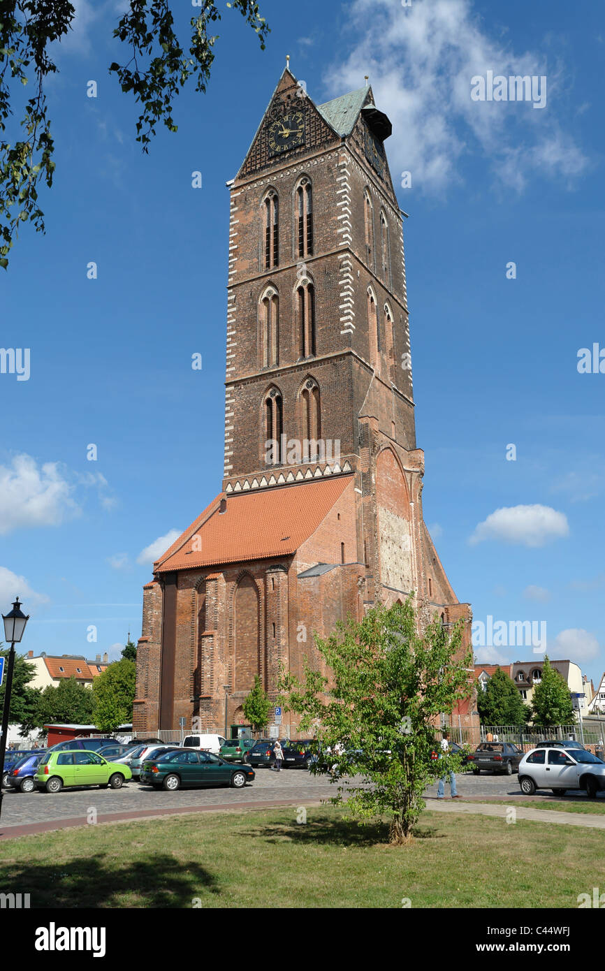 Germany, Mecklenburg-West Pomerania, Wismar, tower, rook, Marien's church, architecture, church, building, construction, - Stock Image