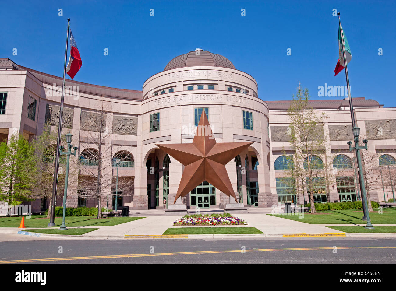 USA, Texas, Austin, Bob Bullock Texas State History Museum, lone star sculpture outside museum Stock Photo