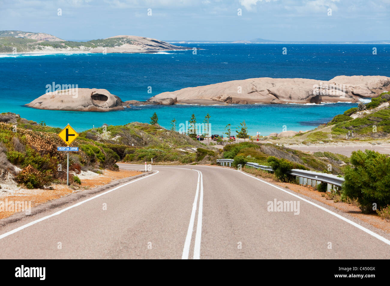 Road leading down to Twilight Cove. The road is part of the Great Ocean Drive - a 38 kilometre scenic drive along - Stock Image