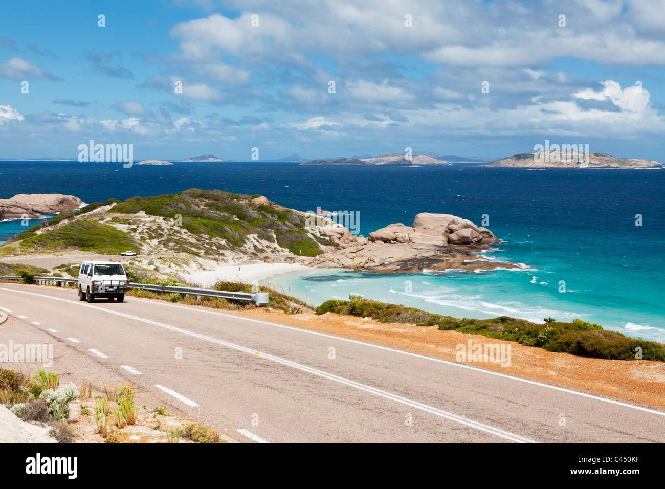 Car driving on Great Ocean Drive - a 38 kilometre scenic drive along the coast near, Esperance, Western Australia, Stock Photo