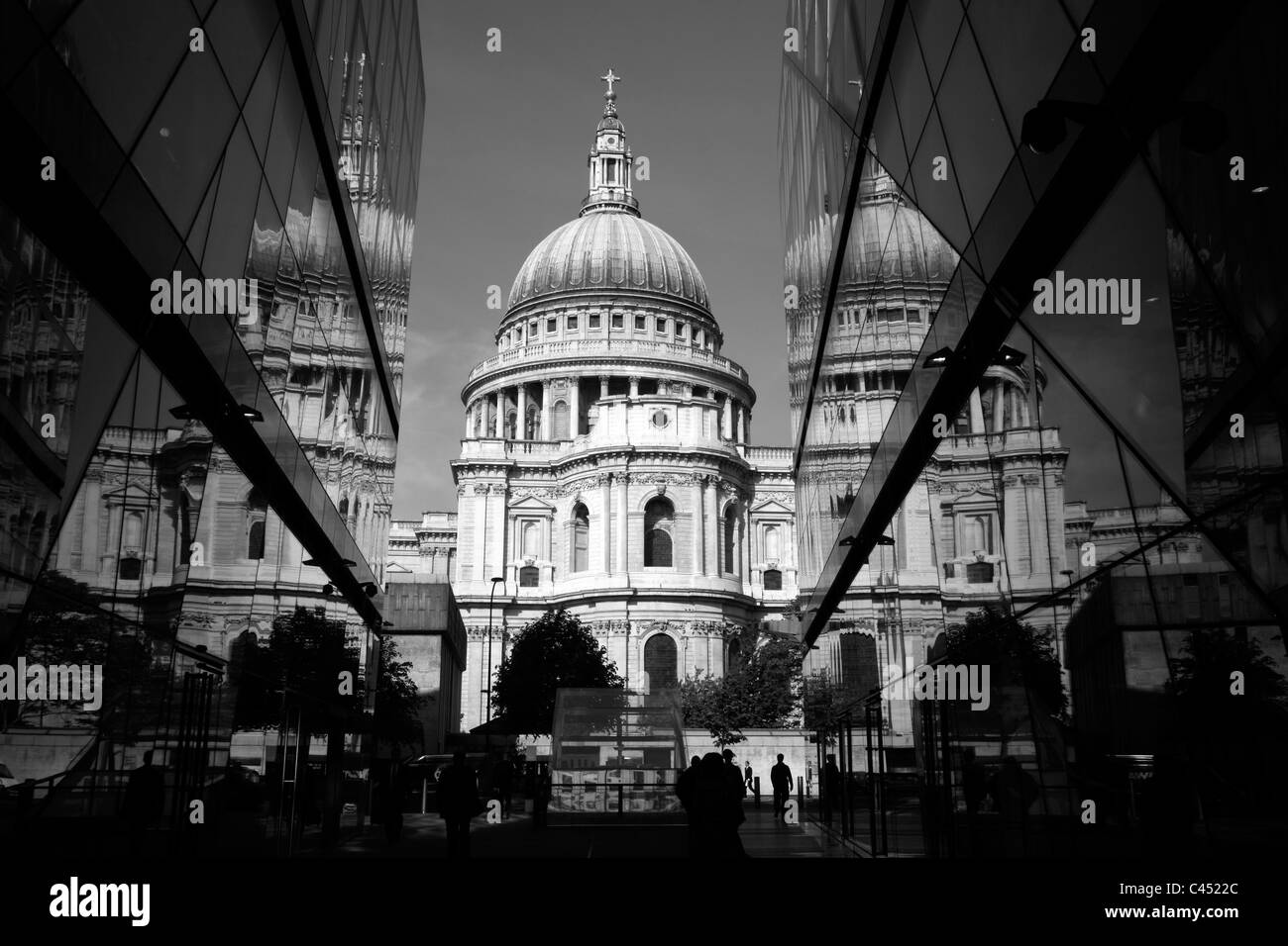 St Paul's Cathedral reflected in the glass exterior of One New Change, City of London, UK - Stock Image