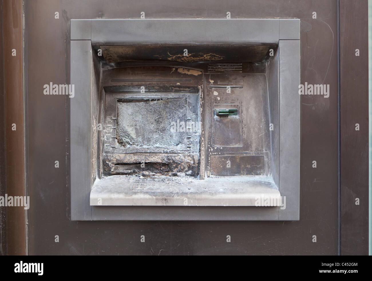 vandalized atm cash machine - Stock Image