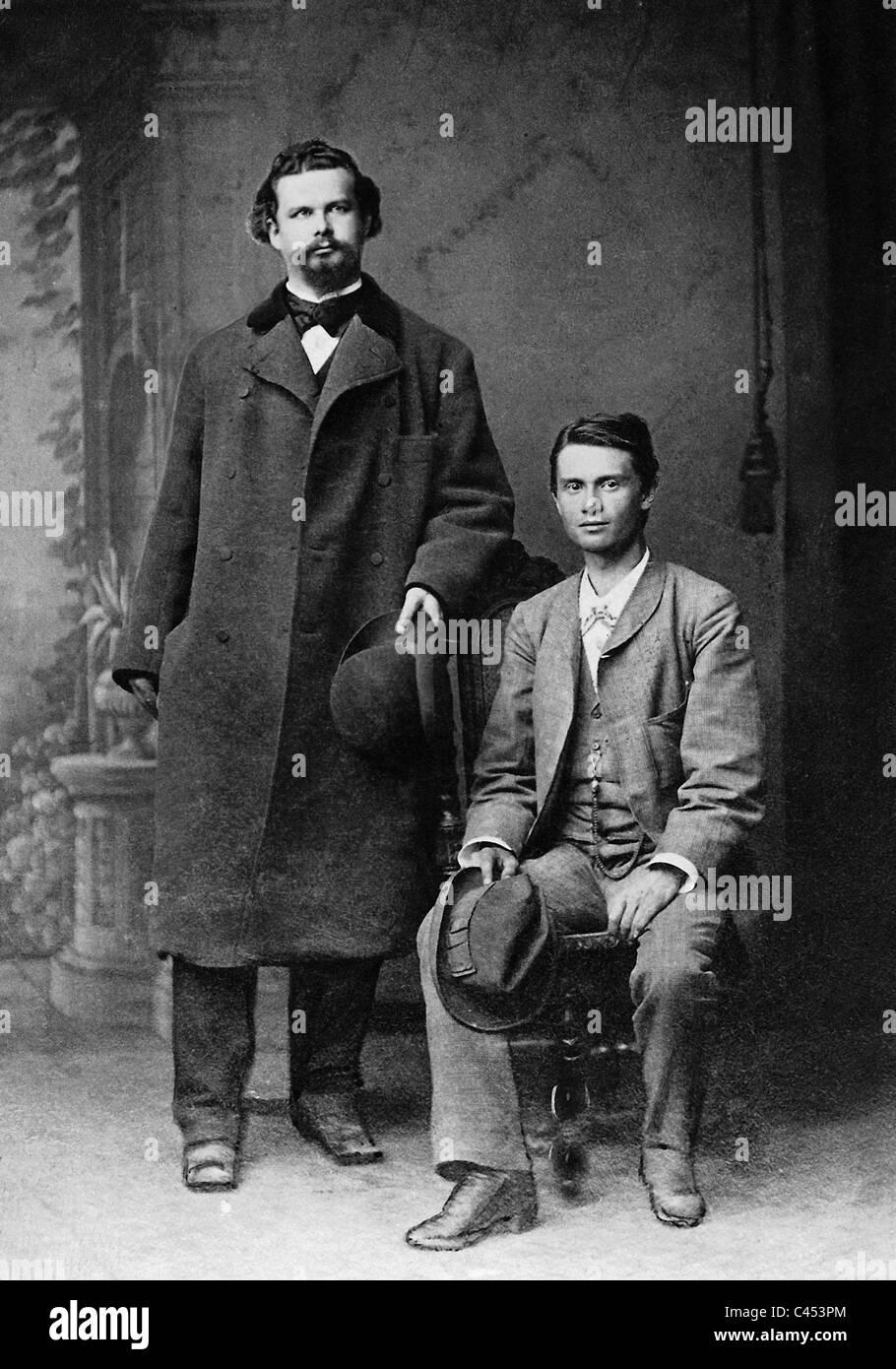 King Ludwig II of Bavaria and Josef Kainz , 1881 - Stock Image
