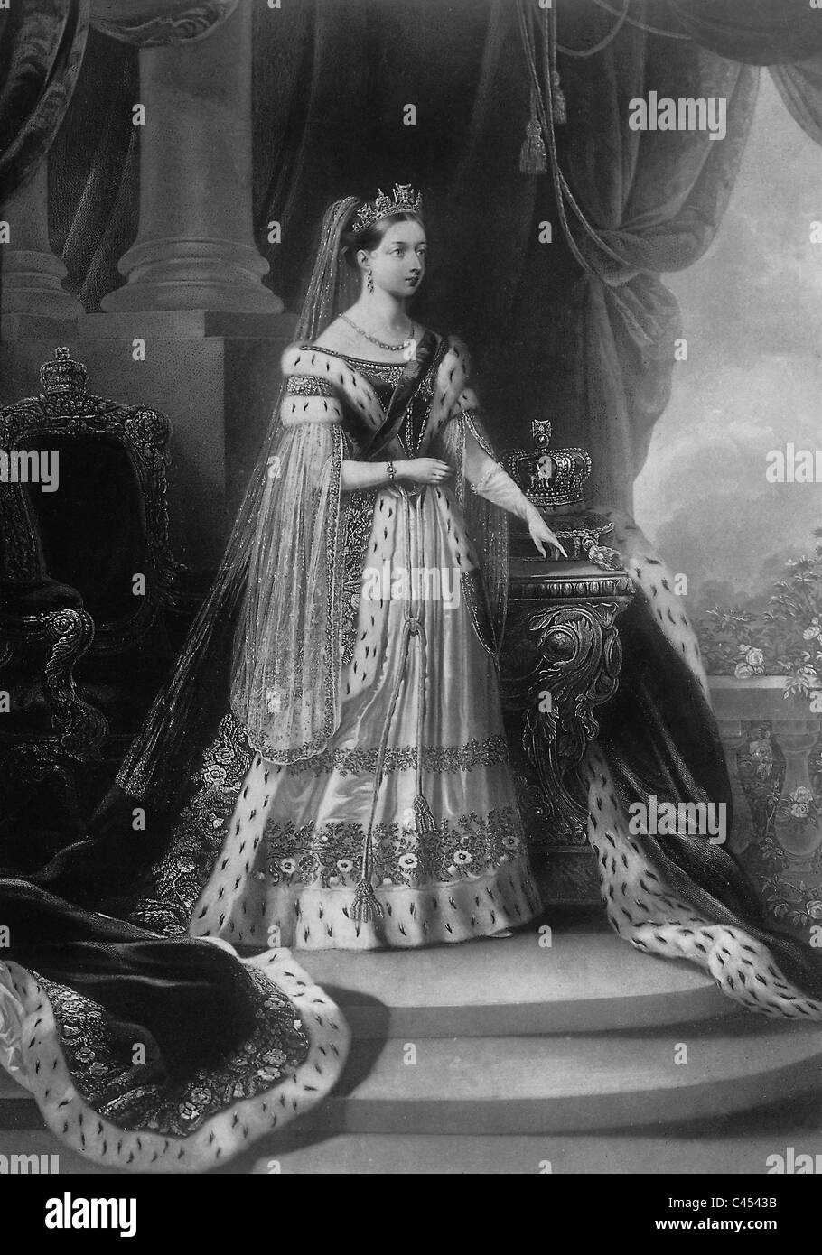 Queen Victoria of Great Britain in her coronation robes, 1838 - Stock Image