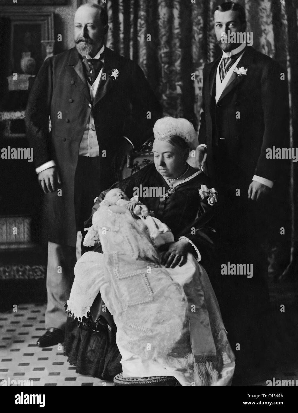 Queen Victoria with King Edward VII, King George V and great-grandson Albert Edward - Stock Image