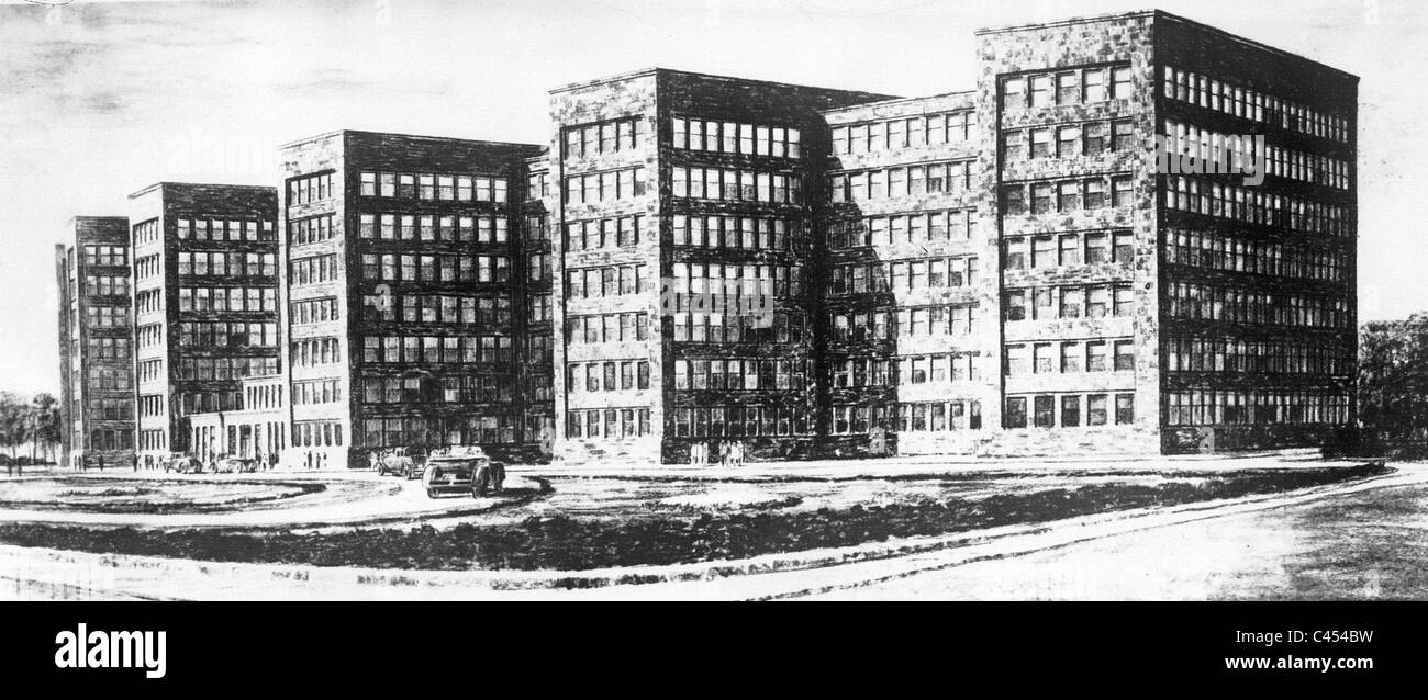 Design of the IG Farben building, 1928 Stock Photo