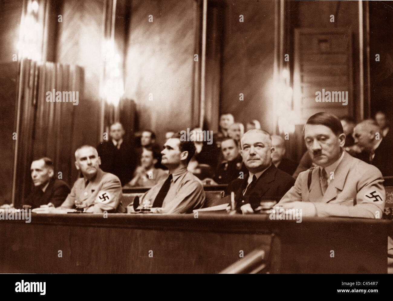 Hitler with members of his Government in the Reichstag, 1934 - Stock Image