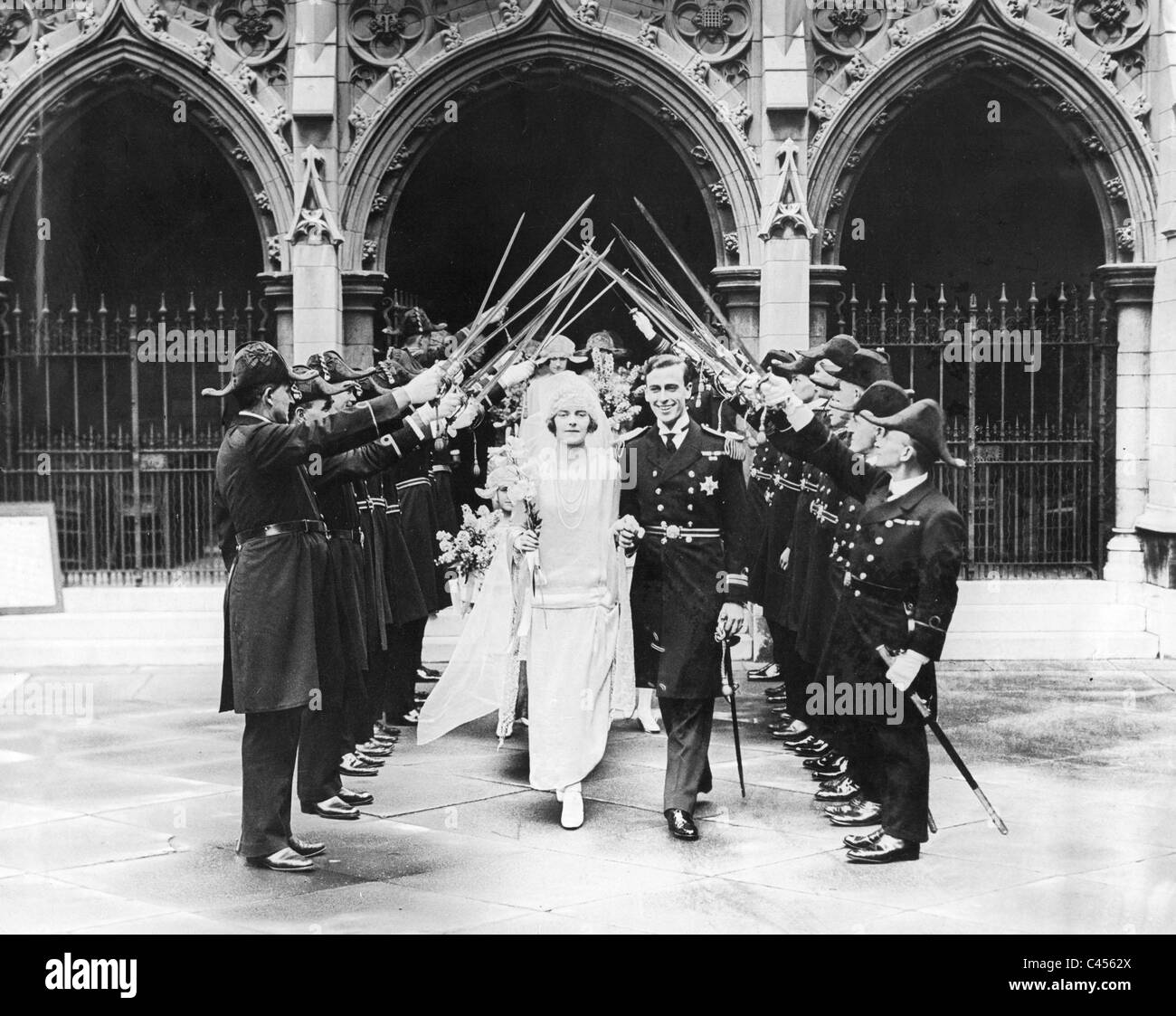 Lord Louis Mountbatten at the wedding with Edwina Ashley, 1922 - Stock Image