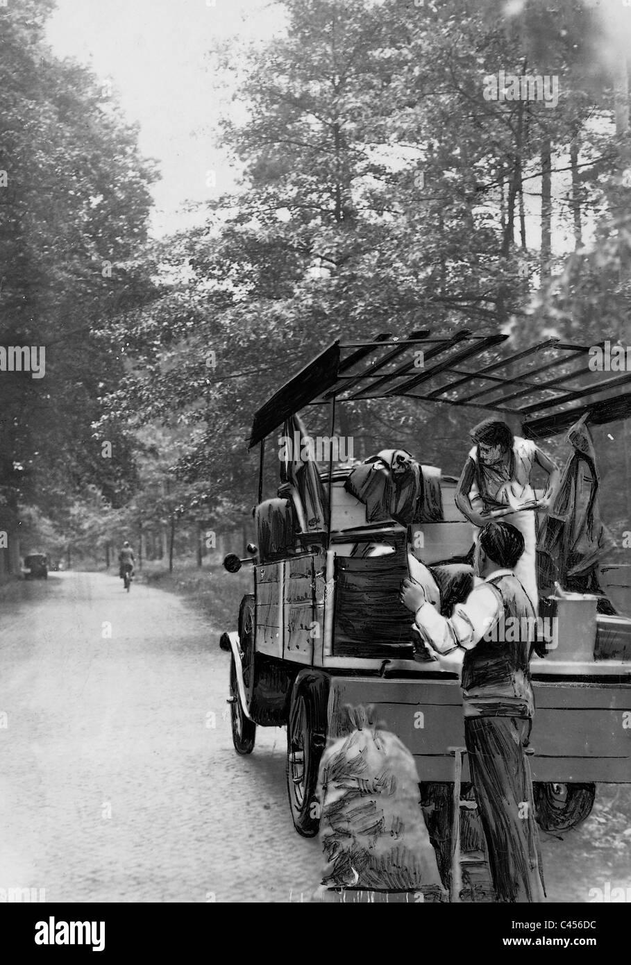 Weekend getaway, 1930 - Stock Image