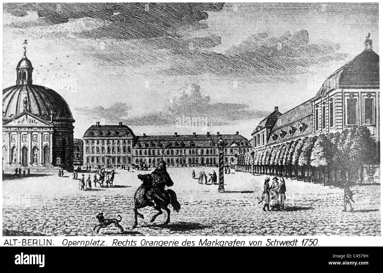 Opernplatz in Berlin, 1750 - Stock Image