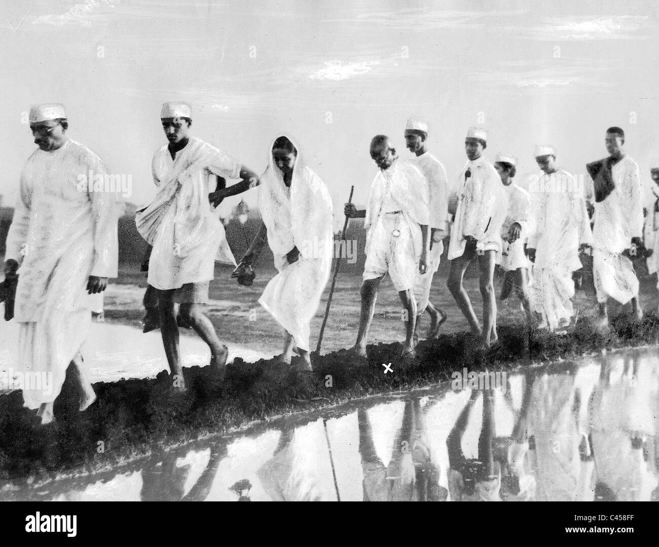 Indian fight for independence - Gandhi's Salt March - Stock Image