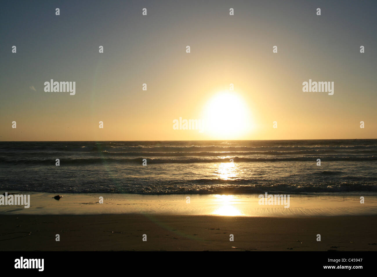 Sunset at pacific beach in san francisco Stock Photo