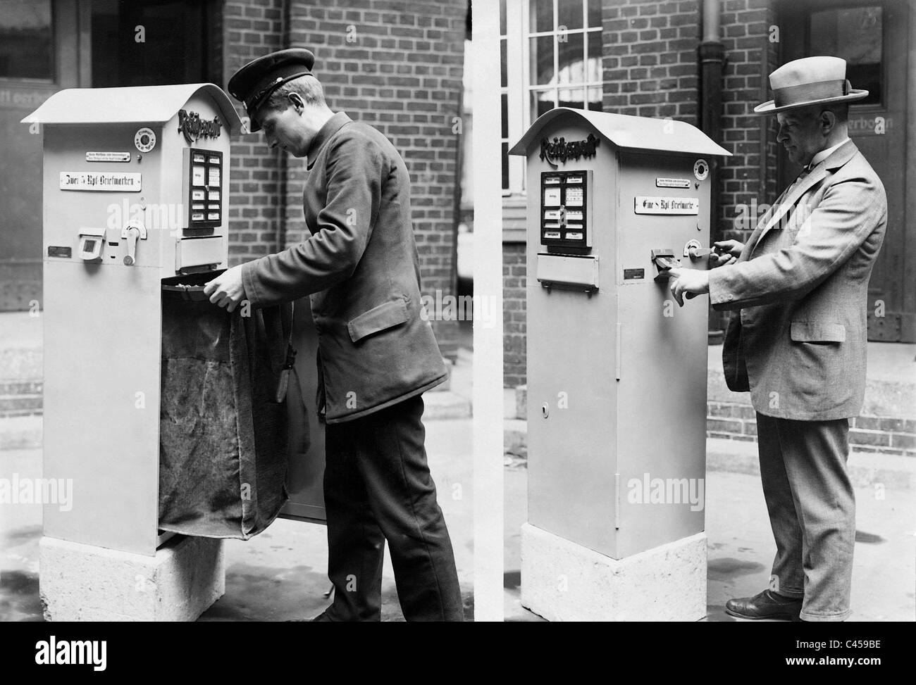Mailboxes with stamp machine, 1928 Stock Photo