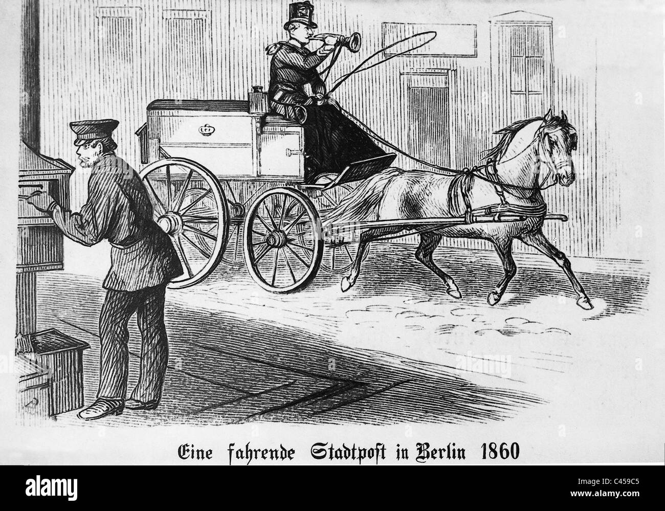 Mail car in Berlin, 1860 - Stock Image