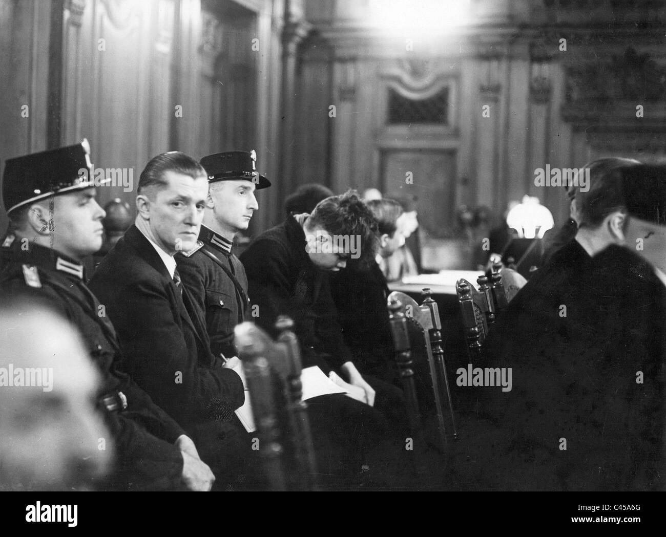 Accused Torgler and Martinus van der Lubbe at the Reichstag fire trial, 1933 - Stock Image