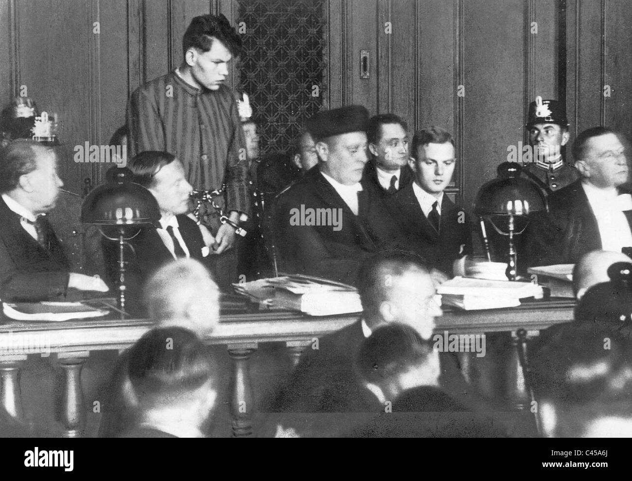 Accused Martinus van der Lubbe in the Reichstag fire trial, 1933 - Stock Image