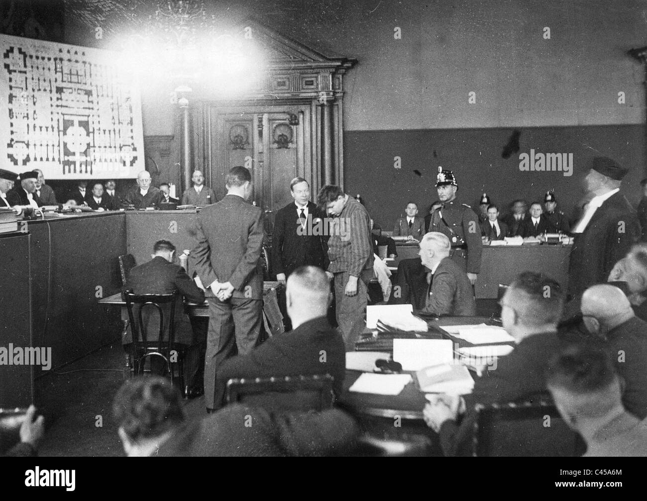 Martinus van der Lubbe in the Reichstag fire trial, 1933 - Stock Image