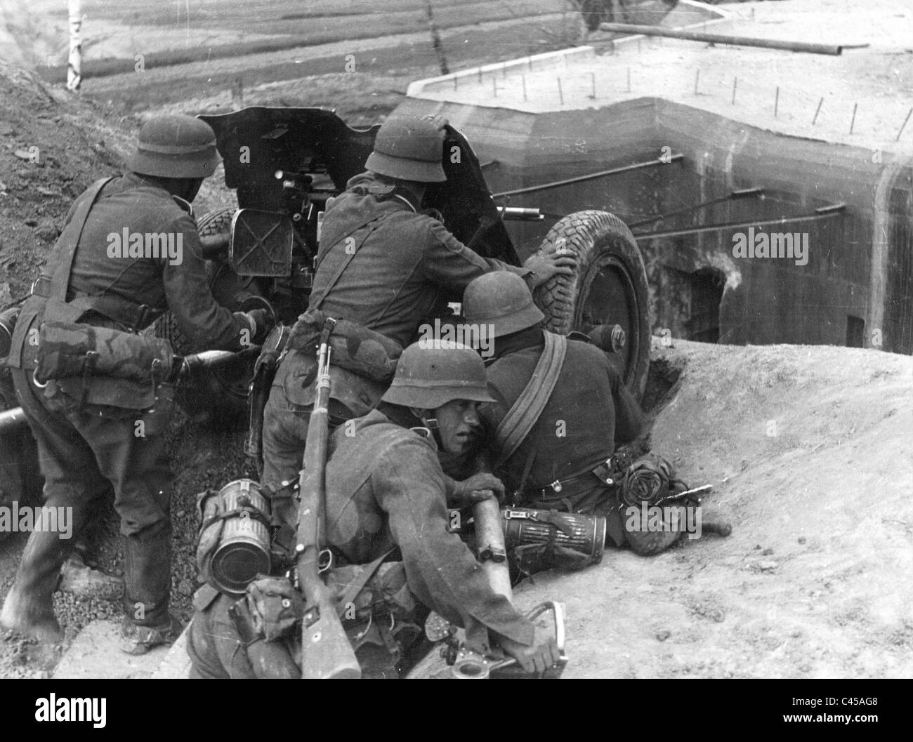 German Pak at the battle for Brest-Litovsk, 1941 - Stock Image