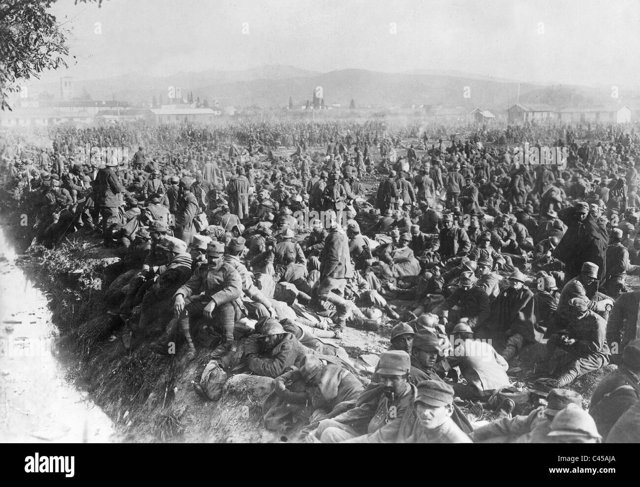 Captured Italians in the conquered city of Cividale, 1917 Stock Photo