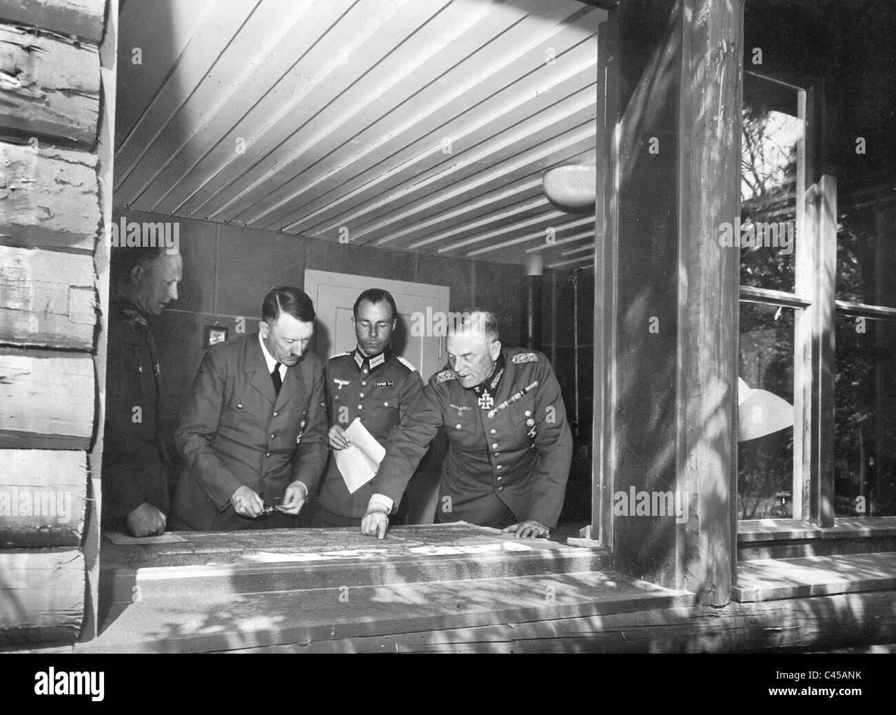Alfred Jodl, Adolf Hitler und Wilhelm Keitel at the map table, 1940 - Stock Image