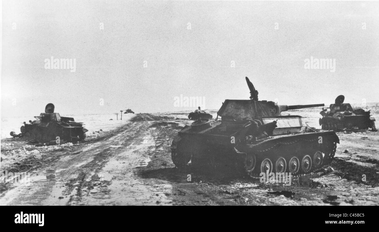 Demolished Russian tanks, 1943 - Stock Image