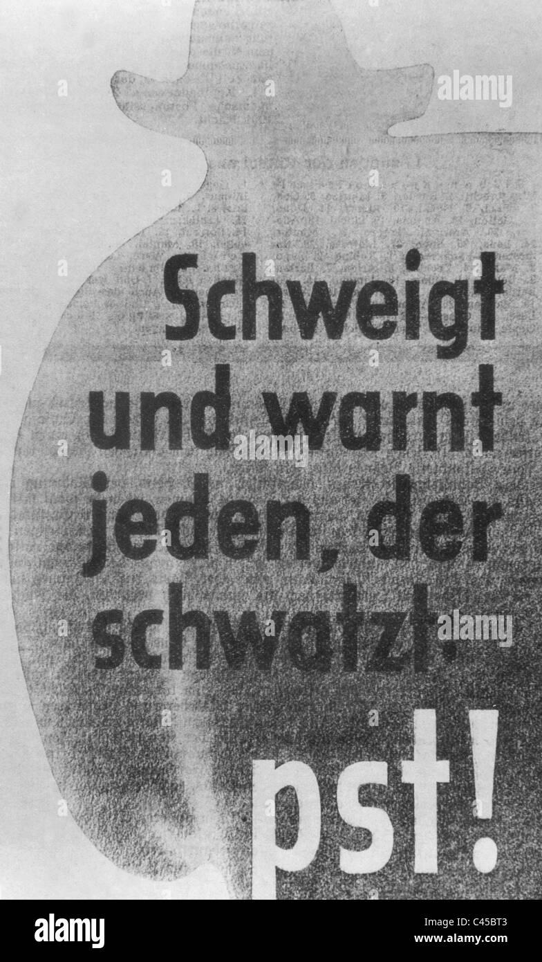 Nazi propaganda poster from the Second World War - Stock Image