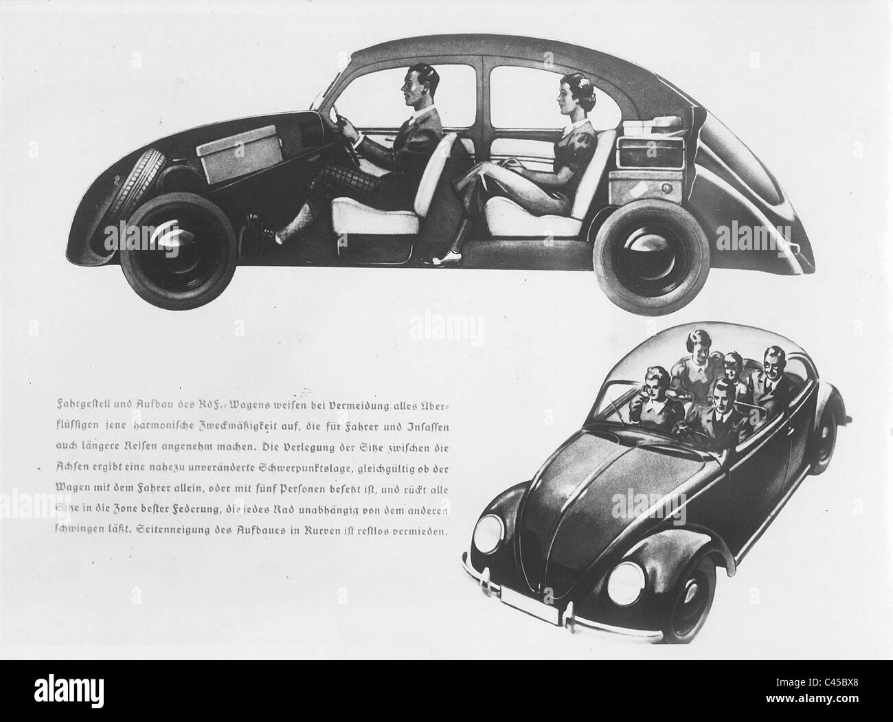Drawing of a VW beetle, 1938 - Stock Image